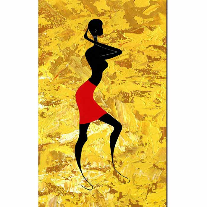 Bizhen African Tribe Woman Painting Canvas Wall Decor - Yellow ...