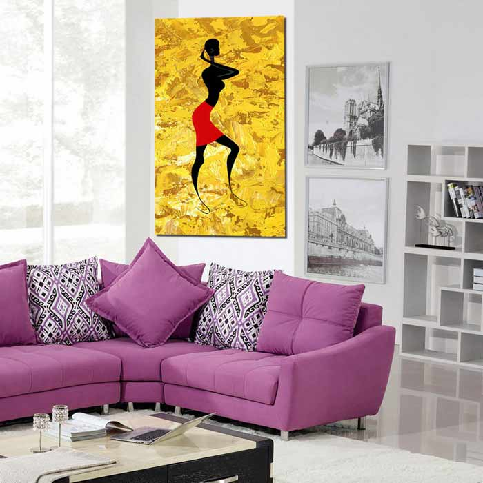 Bizhen Frame-free African Tribe Woman Painting Canvas Corridor ...