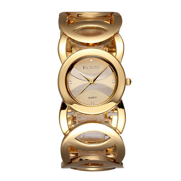 De Weiqin vrouwen waterdichte holle out legering band quartz horloge - golden