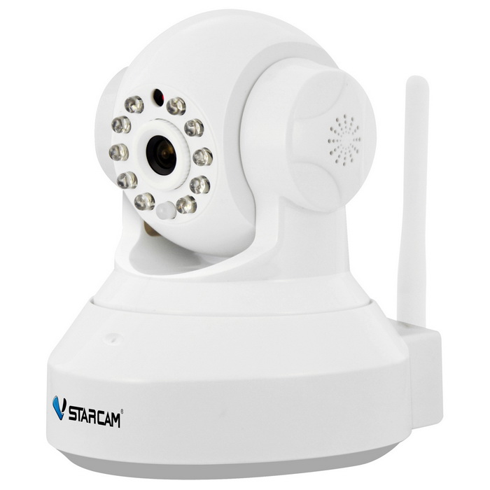 VSTARCAM C37A 1.3MP Wi-Fi Surveillance IP Camera - White (EU Plug)IP Cameras<br>Form  ColorWhitePower AdapterEU PlugModelC37AMaterialABSQuantity1 DX.PCM.Model.AttributeModel.UnitImage SensorCMOSImage Sensor SizeOthers,1/4inchPixels1280 x 960PLens3.6mmViewing AngleOthers,75 DX.PCM.Model.AttributeModel.UnitVideo Compressed FormatH.264/JPEGPicture Resolution960p (1280 x 960) / VGA(640 x 360) / QVGA(320 x 180)Frame Rate15fpsInput/OutputBuilt-in microphone / AudioAudio Compression FormatOthers,ADPCMMinimum Illumination0.3 DX.PCM.Model.AttributeModel.UnitNight VisionYesIR-LED Quantity10Night Vision Distance10 DX.PCM.Model.AttributeModel.UnitWireless / WiFi802.11 b / g / nNetwork ProtocolTCP,IP,HTTP,SMTP,DHCP,DDNSSupported SystemsWindows 2000,2003,XP,Vista,7Supported BrowserIE 6.0 and aboveSIM Card SlotNoOnline Visitor4IP ModeDynamic,StaticMobile Phone PlatformAndroid,iOSFree DDNSYesIR-CUTYesBuilt-in Memory / RAMNoLocal MemoryyesMemory CardTFMax. Memory Supported64GBMotorYesRotation AngleHorizontal: 355 degree / Vertical: 120 degreeSupported LanguagesEnglish,Simplified Chinese,Portuguese,Spanish,Korean,FrenchWater-proofNoRate Voltage5VRated Current2 DX.PCM.Model.AttributeModel.UnitCertificationCE ROSH FCCPacking List1 x Camera1 x AC power adapter(EU plug / 100~240V / 180cm-cable)1 x Bracket 1 x Pack of installation accessories1 x English user manual<br>