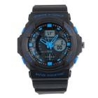 SYNOKE 66866 Unisex Fashion Multifunction Waterproof Sports Analog-Digital Watch - Black + Blue