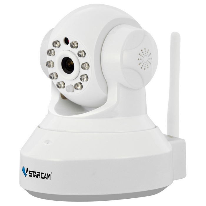VSTARCAM 960P 1.3MP Wi-Fi Security IP Camera w/ TF - WhiteIP Cameras<br>Form  ColorWhitePower AdapterUS PlugModelC37AMaterialABSQuantity1 DX.PCM.Model.AttributeModel.UnitImage SensorCMOSImage Sensor SizeOthers,1/4inchPixels1280 x 960PLens3.6mmViewing AngleOthers,75 DX.PCM.Model.AttributeModel.UnitVideo Compressed FormatH.264/JPEGPicture Resolution960p (1280 x 960) / VGA(640 x 360) / QVGA(320 x 180)Frame Rate15fpsInput/OutputBuilt-in microphone / AudioAudio Compression FormatOthers,ADPCMMinimum Illumination0.3 DX.PCM.Model.AttributeModel.UnitNight VisionYesIR-LED Quantity10Night Vision Distance10 DX.PCM.Model.AttributeModel.UnitWireless / WiFi802.11 b / g / nNetwork ProtocolTCP,IP,HTTP,SMTP,DHCP,DDNSSupported SystemsWindows 2000,2003,XP,Vista,7Supported BrowserIE 6.0 and aboveSIM Card SlotNoOnline Visitor4IP ModeDynamic,StaticMobile Phone PlatformAndroid,iOSFree DDNSYesIR-CUTYesBuilt-in Memory / RAMNoMotorYesRotation AngleHorizontal: 355 degree / Vertical: 120 degreeSupported LanguagesEnglish,Simplified Chinese,Portuguese,Spanish,Korean,FrenchWater-proofNoRate Voltage5VRated Current2 DX.PCM.Model.AttributeModel.UnitCertificationCE ROSH FCCPacking List1 x Camera1 x AC power adapter(US plug / 100~240V / 160cm-cable)1 x Bracket 1 x Pack of installation accessories1 x English user manual<br>