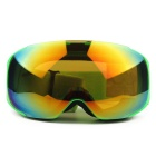 Unisex Fashionable TPU Frame PC Lens UV400 Protection Anti-Fog Sport Skiing Goggles - Green + Red