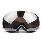 Unisex Fashionable TPU Frame PC Lens UV400 Protection Anti-Fog Sport Skiing Goggles - White + Grey
