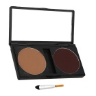 Pro 2 Color Eyebrow Palette Kit w/ Eyebrow Makeup Brush - Light Coffee + Brown Coffee
