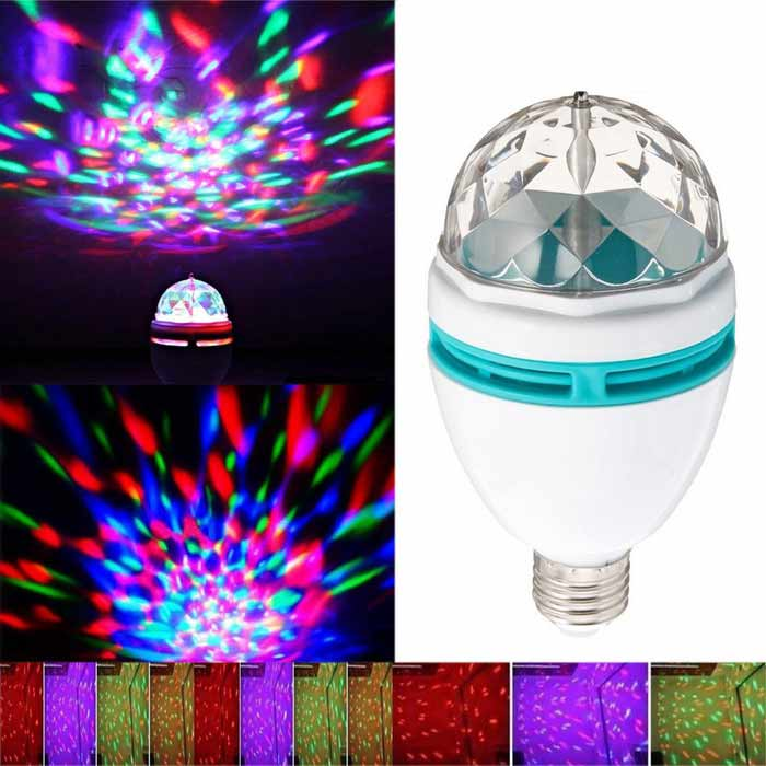 E27 3W 3-LED RGB Sound Control Crystal Party Light Stage Lamp - White