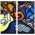 Bizhen Frame-Free Musical Instruments Painting Canvas Wall Decor Murals - Deep Blue