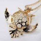Synthetic Opal Crystal Owl Shape Necklace - Golden + Milk White