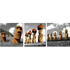 Bizhen Frame-Free Easter Island Stone Statue Painting Canvas Wall Decor Murals - Grey
