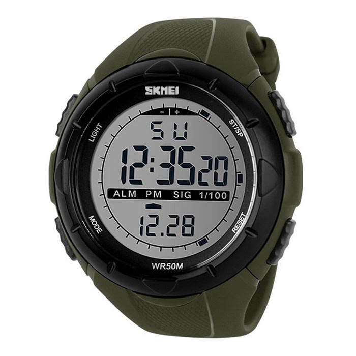 ShiKeMei Mens Digital Display Sports Watch - Black (1*CR2032)Sport Watches<br>Form  ColorArmy GreenModel1025Quantity1 pieceShade Of ColorGreenCasing MaterialPCWristband MaterialPUSuitable forAdultsGenderUnisexStyleWrist WatchTypeSports watchesDisplayDigitalBacklightBlueMovementDigitalDisplay Format12/24 hour time formatWater ResistantWater Resistant 5 ATM or 50 m. Suitable for swimming, white water rafting, non-snorkeling water related work, and fishing.Dial Diameter5 cmDial Thickness1.5 cmWristband Length23 cmBand Width2.1 cmBattery1 x CR2032Packing List1 x Watch1 x Chinese and English manual<br>