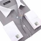 Men's Square Edge Stripe Pattern Decoration Cufflinks - Silver (Pair)