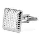Men's Cufflinks Square Honeycomb Pattern - Silver (Pair)