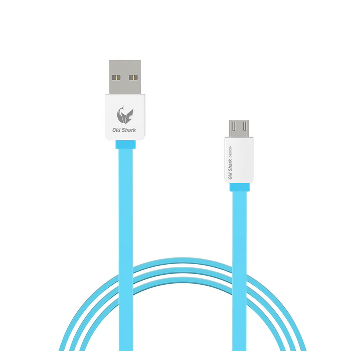 OLDSHARK Micro USB to USB 2.0 Flat Charging Cable - Blue (1m)