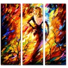 Bizhen Frame-free Abstract Flame Girl Painting Canvas Wall Decor Murals 3 Panels