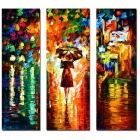 Bizhen Frame-free Abstract Painting Canvas Wall Decor Murals 3 Panels
