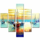 Bizhen Frame-free Harbour Painting Canvas Wall Decor Murals 5 Panels