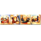Bizhen Frame-free Abstract Table Painting Canvas Wall Decor Murals 4 Panels