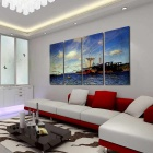 Bizhen Frame-free Sea Painting Canvas Wall Decor Murals 4 Panels