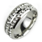 Unisex Double-circle Crystal Inlaid Steel Finger Ring - Silver (US Size 10)