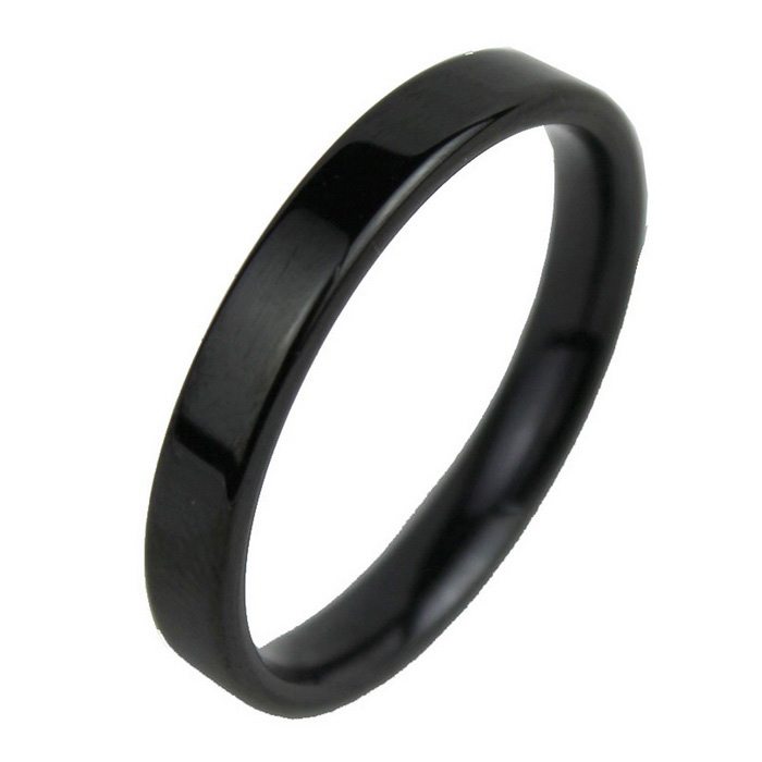 Men's Smooth Thin Strips Style Steel Finger Ring - Black (US 11)