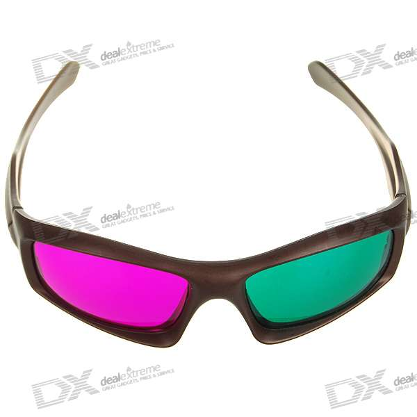 Re-useable Plastic Frame Resin Lens Anaglyphic Magenta + Green 3D Glasses