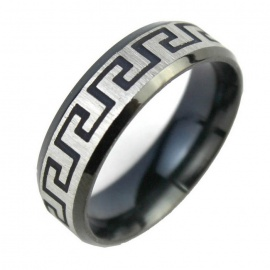 Stripe Pattern Finger Ring for Men - Black + Silver (US 10)
