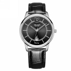 MEGIR Men's Waterproof Scratchproof Case Leather Band Quartz Watch w/ Calendar - Black + Silver