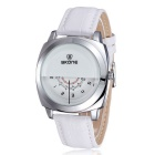 SKONE Men's Unique Dial Design PU Band Quartz Watch - White (1 x S377)