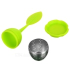 Silicone + Steel Tea Leaf Holder Strainer Infuser Filter - Green