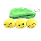 Cute Soybeans Pod Style Small Coin Purse Bag Keychain - Green + Yellow