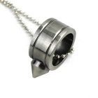Cone Ring Pendant Necklace - Silver Black