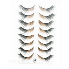 COOL FLOWER Black + Brown Thick False Eyelashes for Makeup (8 Pair)