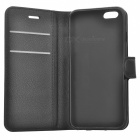 Litchi Grain PU Leather Flip Wallet Case for IPHONE 6 / 6S - Black