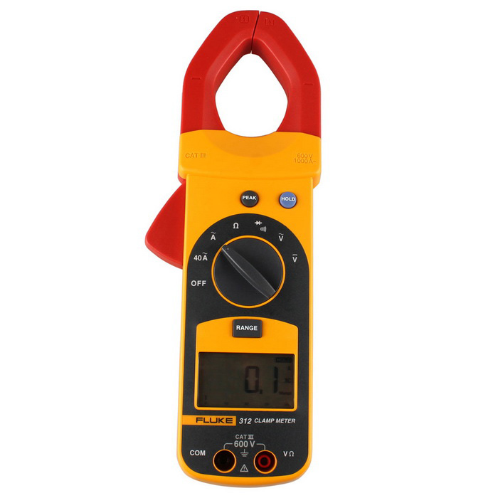FLUKE F312 2 LCD Clamp Meter - Yellow + RedMultimeters<br>Form  ColorYellow + Red + Multi-ColoredModelF312Quantity1 DX.PCM.Model.AttributeModel.UnitMaterialABSScreen Size2 DX.PCM.Model.AttributeModel.UnitDC Voltage400.0V/1000V 0.75%±2AC Voltage400.0V/750V 1.2%±5AC Current40.0A/400.0A/1000A 1.9%±5Resistance400.0/4000 1%±3Auto Power OffYesPowered ByOthers,9VBattery Number1Battery included or notYesPacking List1 x Fluke 312 Clamp Meter1 x Chinese / English User Manual2 x Test Leads (Cable 120cm)1 x 9V Battery1 x Carrying Case<br>
