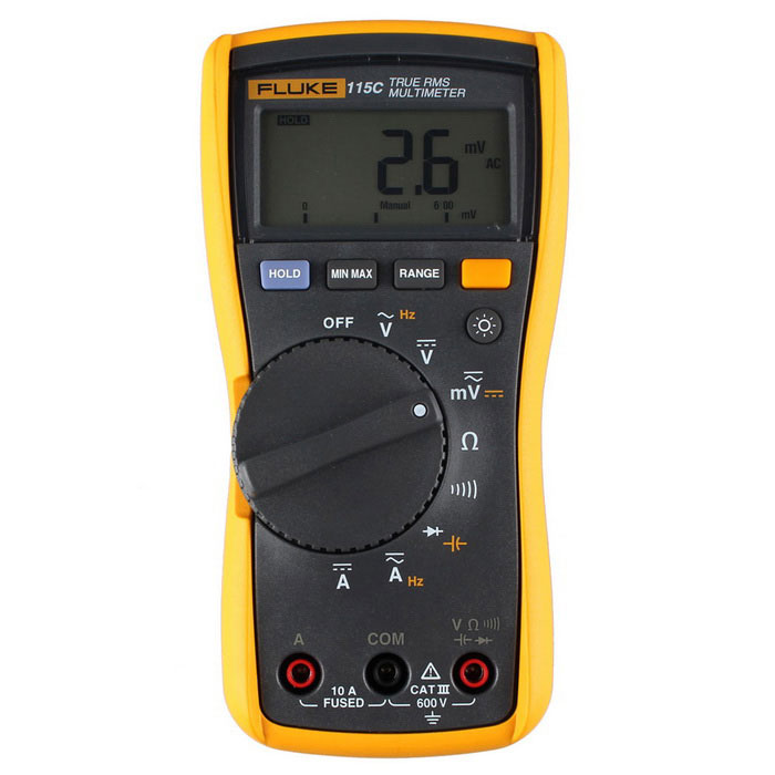 FLUKE 115C Auto Digital True-rms Multimeter - Yellow + GrayMultimeters<br>Form  ColorYellow + Grey + Multi-ColoredModel115CQuantity1 DX.PCM.Model.AttributeModel.UnitMaterialABSScreen Size2.4 DX.PCM.Model.AttributeModel.UnitDC Voltage600.0mV 0.5%+2  6V 0.5%+2 60V 0.5%+2<br>600V 0.5%+2AC Voltage600.0mV 45~500Hz 1.0%+3, 500Hz~1kHz 2.0%+3<br>6V 45~500Hz 1.0%+3, 500Hz~1kHz 2.0%+3<br>60V 45~500Hz 1.0%+3, 500Hz~1kHz 2.0%+3<br>600V 45~500Hz 1.0%+3, 500Hz~1kHz 2.0%+3DC Current6A/10A/20A 1.0%+3AC Current6A/10A/20A 1.5%+3Resistance600 0.9%+2 6k 0.9%+1 60k 0.9%+1 600k 0.9%+1 6M 0.9%+1 40M 5%+1Capacitance Accuracy1000nF 1.9%+2 10uF 1.9%+2 100uF 1.9%+2<br>9999uF 100F~1000F: 1.9%+2, &gt;1000F: 5%+20Frequency Accuracy99.99Hz 0.1%+2 999.9Hz 0.1%+2 9.999kHz 0.1%+2 50kHz 0.1%+2Frequency TestYesPowered ByOthers,9VBattery Number1Battery included or notYesPacking List1 x Fluke 115C multimeter1 x Test cable (120cm)1 x English / Chinese user manual1 x 9V Battery<br>