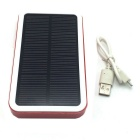 """12000mAh"" Li-Polymer Battery Solar Charger Power Bank - Red + White"