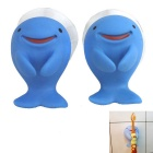 Dolphin Style Suction Cup Clip Holder for Toothbrush / Razor / Soup Spoon / Towel Holding - Blue