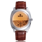 SKONE Men's Unique Dial Design PU Band Quartz Watch - Brown + Silver (1 x S377)