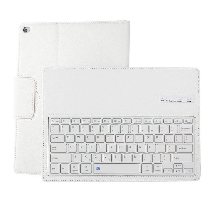 Litchi Pattern Bluetooth PU Keyboard Case for IPAD PRO - White