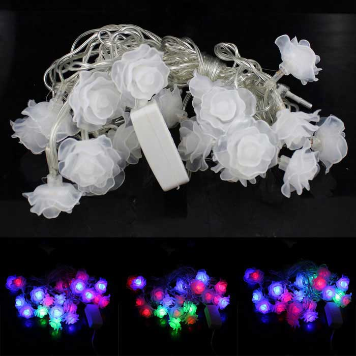 3W 20-LED RGB Romantic Roses Shape Decorative String Lamp - White (4m)