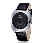 SKONE Men's Unique Dial Design PU Band Quartz Watch - Black + Silver
