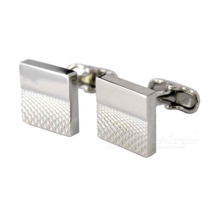 Men's Lattice Pattern Cufflinks - Silver (Pair)