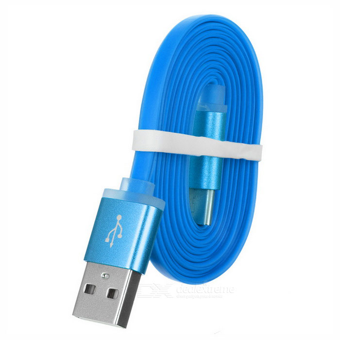 Cwxuan Flat USB 3.1 Type-C to USB 2.0 Data Charging Cable - Blue (1m)