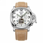 MEGIR Men's Genuine Leather Band Analog Mechanical Watch w/ Calendar - Brown + White
