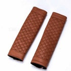 Car Luxury PU Leather Seat Belt Cover Shoulder Pad Set - Brown