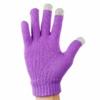 BT Talking/Touch Screen Wool Phone Gloves for IPHONE - Purple + Grey