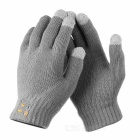 Bluetooth V3.0 Talking & Touch Screen Wool Phone Gloves for IPHONE + More - Grey (Pair)