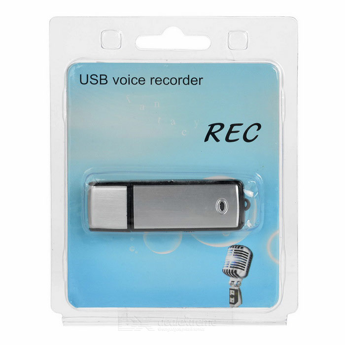 USB 2.0 Voice Recorder w/ Aluminum Alloy Cover / 8GB Memory - Black + Silver