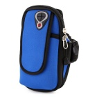 "Outdoor Sports Jogging Water-Resistant Double Pocket Nylon Armband Arm Bag for 5.5"" Phone - Blue"