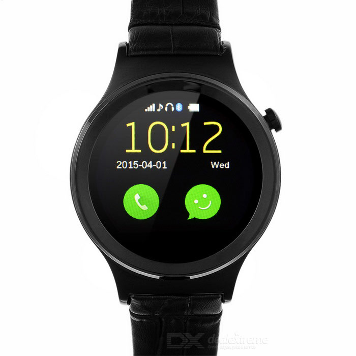 Waterproof Round Dial MTK6260A BT V3.0 Smart Watch w/ 1.22 - BlackSmart Watches<br>Form  ColorBlackQuantity1 DX.PCM.Model.AttributeModel.UnitMaterialStainless steelShade Of ColorBlackCPU ProcessorMTK6260ABluetooth VersionBluetooth V3.0Touch Screen TypeCapacitive ScreenOperating SystemNoCompatible OSIOS, AndroidWater-proofYesBattery Capacity350 DX.PCM.Model.AttributeModel.UnitBattery TypeLi-polymer batteryStandby Time7 DX.PCM.Model.AttributeModel.UnitOther FeaturesLanguage: English, Polish, Malay, Indonesian, Vietnamese, Arabic, Hebrew, Thai, Chinese; Round screen: 240 x 240Packing List1 x Smartwatch1 x Charging dock1 x Connecting cable(40cm)1 x Chinese / English user manual<br>